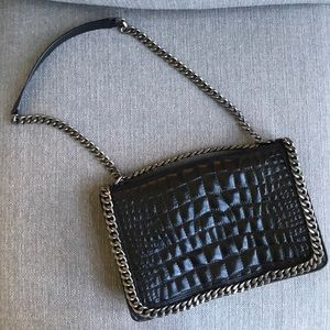 Zara Croc Embossed Bag, Chain Detail, Like New!
